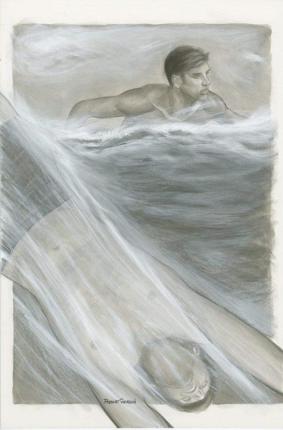 original ink wash drawing robert Gerson Life: part-time