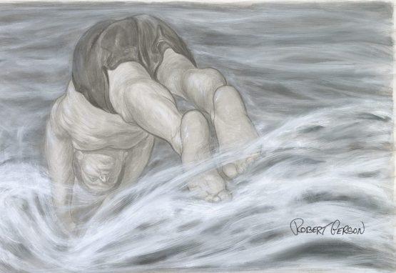 Ink wash illustration Robert Gerson ocean diving Santa Barbara