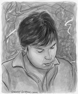 Self portrait drawing of author Robert M Gerson
